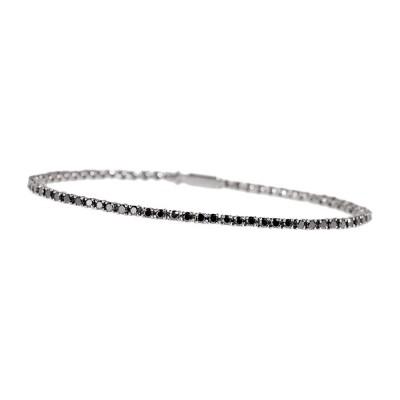 Bracelet tennis white gold & black diamonds