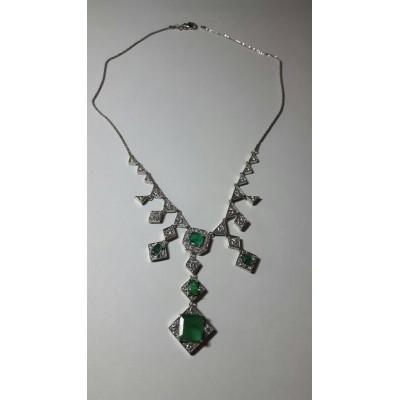 Collier white gold, emerald and diamonds